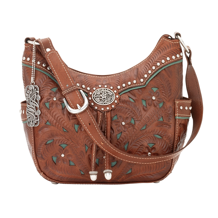 Lady Lace Collection Zip-Top Everyday Hobo - Antique Brown/Turquoise