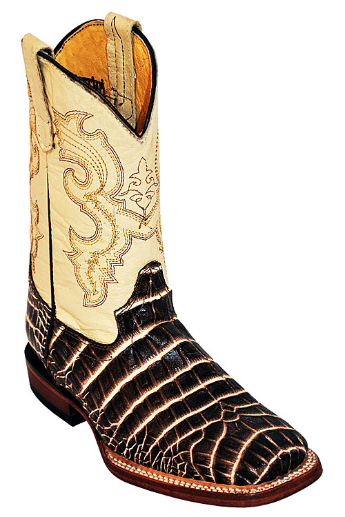 Print Belly Caiman S-Toe Chocolate/Pearl