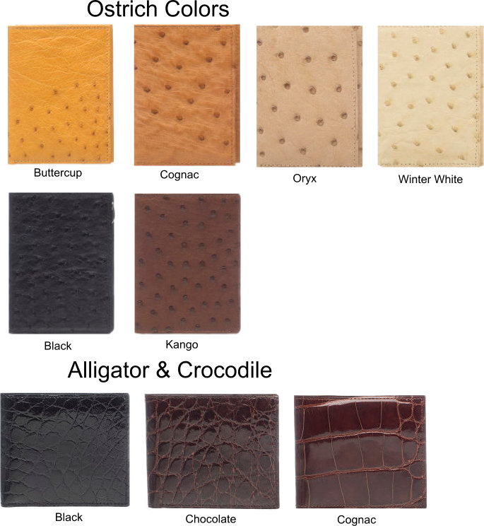 exotic wallet color chart