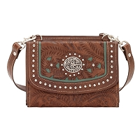 Lady Lace Collection Crossbody Bag/Wallet - Antique Brown/Turquoise