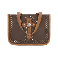Las Cruces Multi-Compartment Zip Top Tote Chestnut Brown/Golden Tan