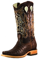 BT-104 Tobacco Caiman Belly Vamp Square Toe 13