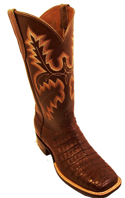 Hornback Alligator Tail Tobacco Exotic Western Boot