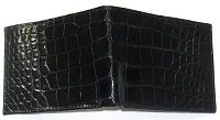 Handmade Belly Alligator Wallet - Black