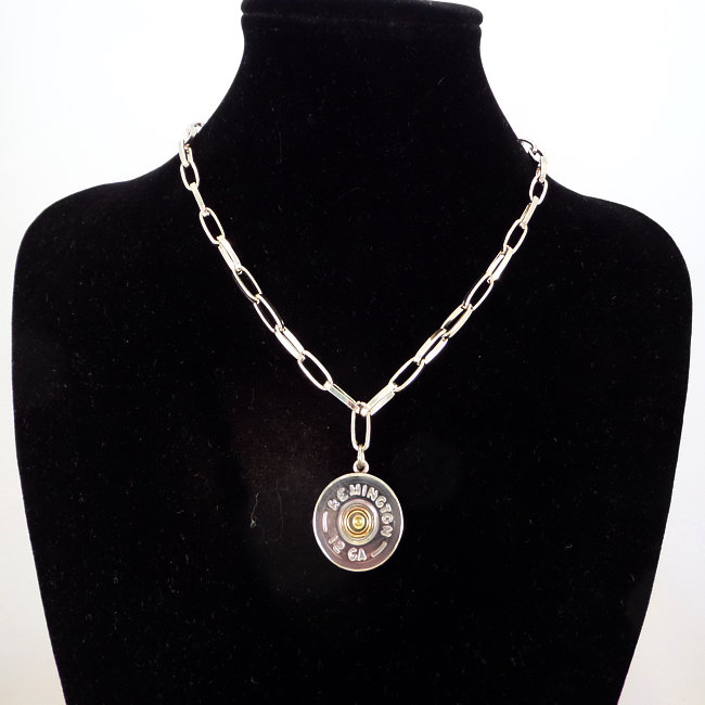Stainless Shotgun Shell Necklace mounted and attached to an SP Chain