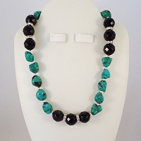 Turquoise Nugget Necklace Highlighted with Black Faceted Onyx / Swarovski Crystyal