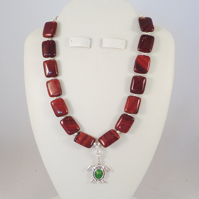 Red Rainbow Jasper Necklace with a Turtle Pendant and Swarovski