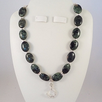 Green Rainbow Jasper Necklace with a Turtle Pendant and Swarovski