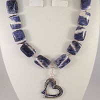 Blue & White Agate Stones with a Silver & Blue Pewter Heart