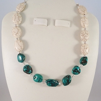 Beautiful Medium Sized Turquoise Nuggets Seperated with Austrian Swarovski Crystal