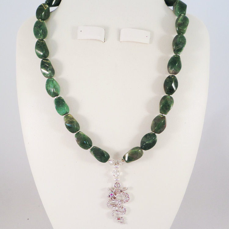 African Green Jade with a Silver Dragon Pendant & Swarovski Crystal