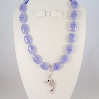 Blue Lace (Lady Lace) Agate with a Dolphin Pendant
