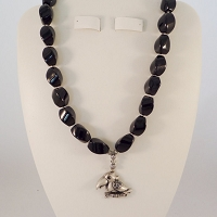 Black Onyx with a Pewter Parrot and Black Austrian Swarovski Crystal