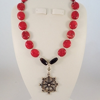 Red Howlite with a Pewter Ship's Wheel Pendant featured by Black Onyx and Swarovski Crystal