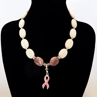 White & Pink Agate Stones featuring a Pink Cancer Ribbon and Swarovski Crystal