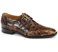 Mauri Palatino Body Alligator Monk Strap Shoes 1002 Burnished Brown/Beige