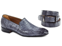 Mauri Celio Alligator Hand Painted Loafers 4440 Medium Gray Belt Sold Separately