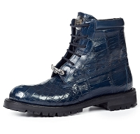 Mauri Commando Alligator Baby Croc - Ostrich Leg Boot 4637 Wonder Blue