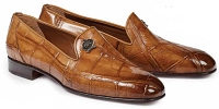 Mauri Ghiberti Body Alligator Loafer Hand Painted 1017 Burnished Brandy