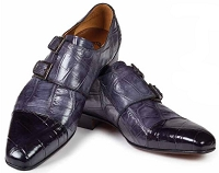 Mauri Traiano Alligator Double Monk Strap Shoes 1152 Black/Medium Grey