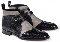 Mauri Bellini Python Black Karung Lizard Grey Ostrich Perforated Black 4828