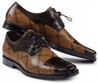 Mauri Caravaggio Ostrich Leg Sport Rust with Woven Cognac/Dark Brown M620