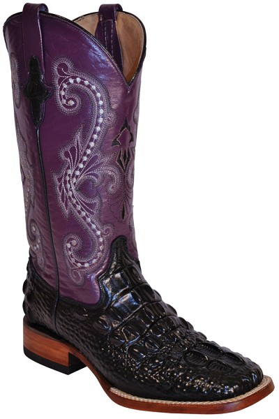 "Woman's Print Hornback Caiman S-Toe> 12"" Black/Purple"