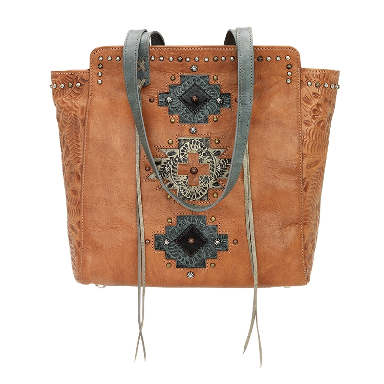 Navajo Soul Collection Zip Top Tote - Golden Tan