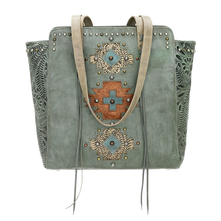 American West Navajo Soul Collection - Zip Top Tote - Turquoise, Brown, Tan