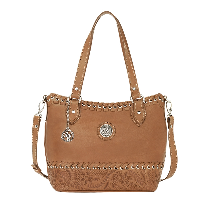 American West Harvest Moon Collection Convertible Zip Top Tote - Golden Tan