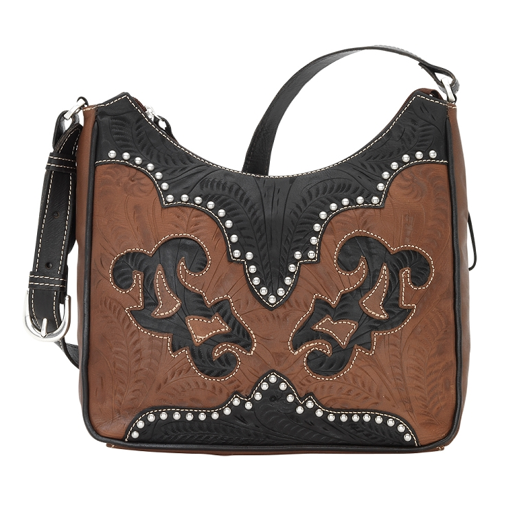 American West Annie's Secret Shoulder Bag with Secret Compartment - Brown / Denim / Crimson / Cream