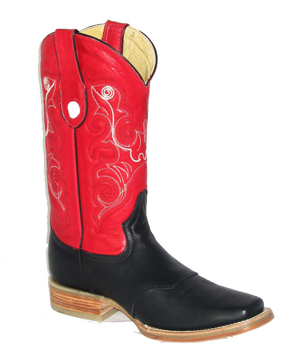 CowTown Texas Square Toe 302 Black & Red
