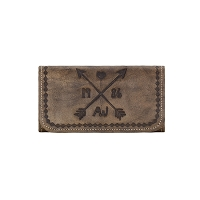 Cross My Heart Collection<br>Tri Fold Wallet<br>Distressed Charcoal Brown