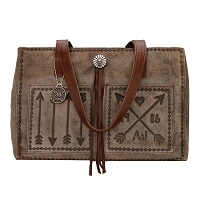 Cross My Heart Collection<br>Shopper Tote<br>Distressed Charcoal Brown