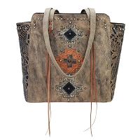 Navajo Soul Collection Zip Top Tote - Distressed Charcoal Brown