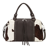 Cow Town Collection Zip Top Convertible Satchel - Chocolate Pony Print - Bindle Hair and Black