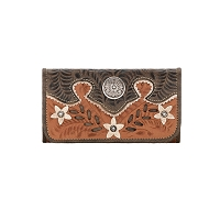 Desert Wildflower Tri-Fold Wallet Golden Tan