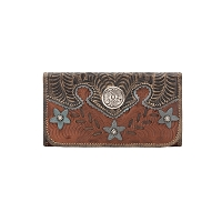Desert Wildflower Tri-Fold Wallet Antique Brown