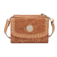 American West Harvest Moon Fold-over Wallet/Crossbody Bag - Golden Tan