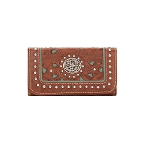 Lady Lace Collection Tri-Fold Wallet - Antique Brown/Turquoise