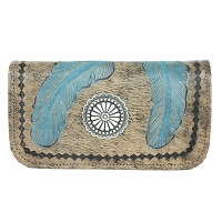 Sacred Bird Tri-Fold Wallet Charcoal / Turquoise
