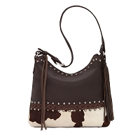American West Wild Horse Zip Top Shoulder Bag - Chocolate Painted Pony Hair & Black