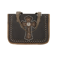 Las Cruces Multi-Compartment Zip Top Tote Distressed Charcoal Brown