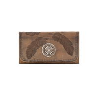 Sacred Bird Tri-Fold Wallet Distressed Charcoal Brown