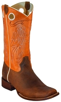 BT-112 Brown & Orange Longhorn Stitching Square Toe 13