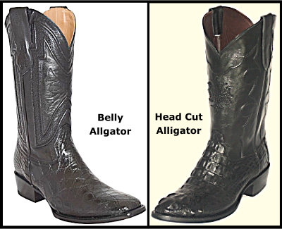 Alligator Belly Boots compared to a Alligator Head Cut Boot