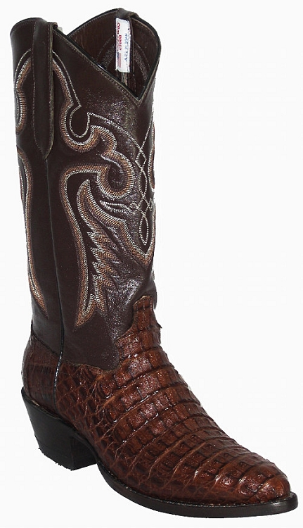 CowTown Caiman Crocodile Back Cut  - Dark Chocolate Brown