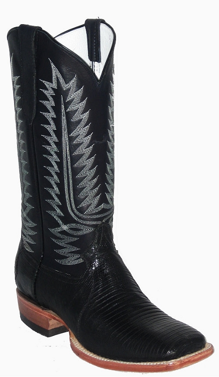CowTown Black Lizard Square Toe Height 13