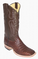 CowTown Caiman Belly Crocodile - Brown Sq-Toe