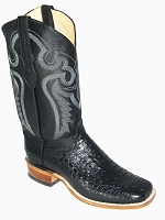 CowTown Caiman Crocodile Belly - Black Sq-Toe